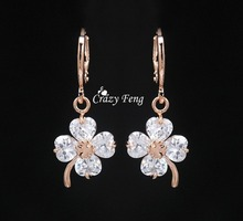HOT Women New Design Drop Earrings Jewelry 18K Rose Gold Plated Crystal Clover CZ Diamond Dangle Free Shipping Hot Selling(China (Mainland))