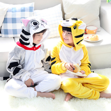 New Children Flannel Animal Themed Pajamas Costumes Lovely Tiger Cat Winter Pyjamas Kids Pajamas Sleepsuit Sleepwear Onesie