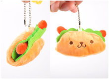 Coreia do sanduíche de Hambúrguer hot dog garra pingente boneca de brinquedo de pelúcia boneca de pelúcia keychain 3 tipos wj04(China)