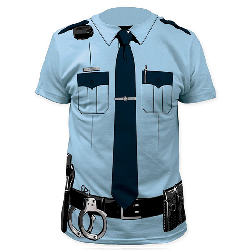 Men Police 3D T Shirt Doctor Gentleman Adult Funny Party Sailors Prisoner Halloween Cosplay Costume(China (Mainland))