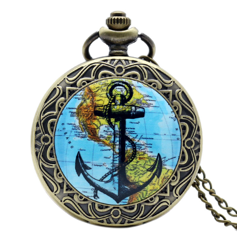 Classical Ship Anchor Design Navigation America Continent Map Vintage Locket Necklace Pocket Watch Bronze Pendant(China (Mainland))
