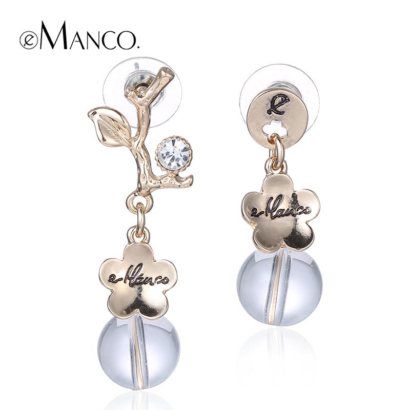 //Rhinestone logo stud earring display gold earring findings// unique jewelry design 2015 earrings jewelry women eManco ER50562(China (Mainland))
