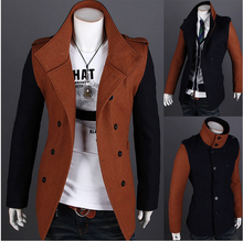 2014 new winter Han edition men's cultivate one's morality into joining together fashion double-breasted fine dust coat(China (Mainland))