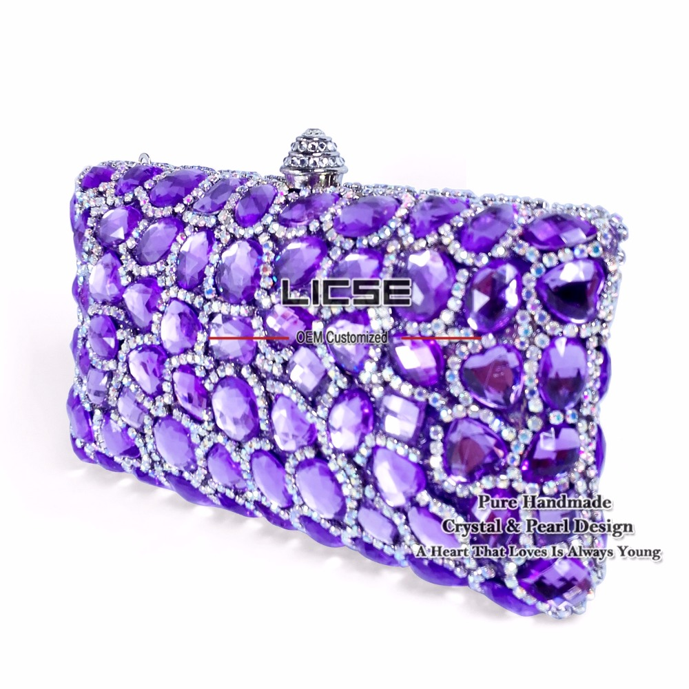 LICSE 2016 New Fashion Woman Handbags Designers Brand Handmade Purple Luxury Rhinestone Wedding Evening Bags Messenger Party Bag(China (Mainland))