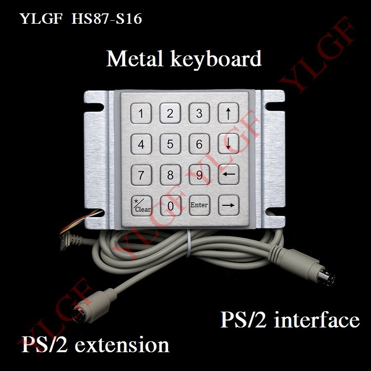 Metal Keyboard Up Down Left Right Ps 2 Interface Ylgf 16 Key Waterproof Ip65 Dust Anti Violence Stainless Steel Ring(China (Mainland))