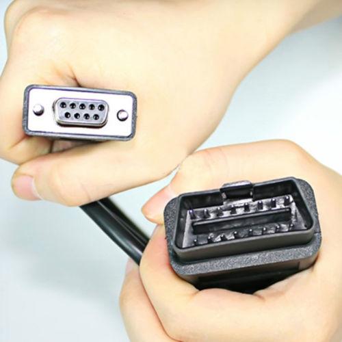 2015 3.7 фут(ов) 1.1 м новый год горячая распродажа Obd2 разъем 16pin Pbug и Db9 Rs232 последовательный интерфейс диагностический адаптер кабель все бесплатная доставка