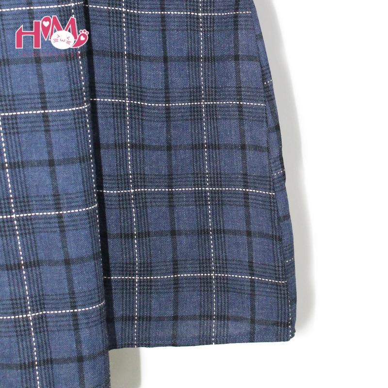 Vintage autumn new collection plaid non sleeve dress mori girl fresh square collar all match spaghetti strap women dress3