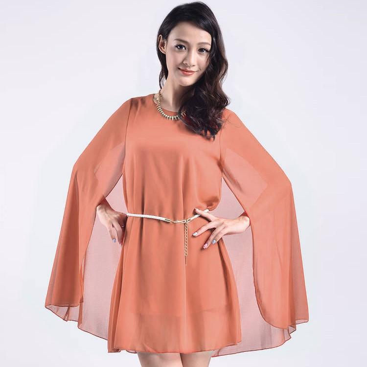 Summer womens o neck sunscreen cloak cape dresses women for Women s sunscreen shirts