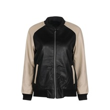 Wink Gal New Arrival 2015 Winter Autumn Leather Black Golden Patchwork Baseball Jacket Womens Jackets and