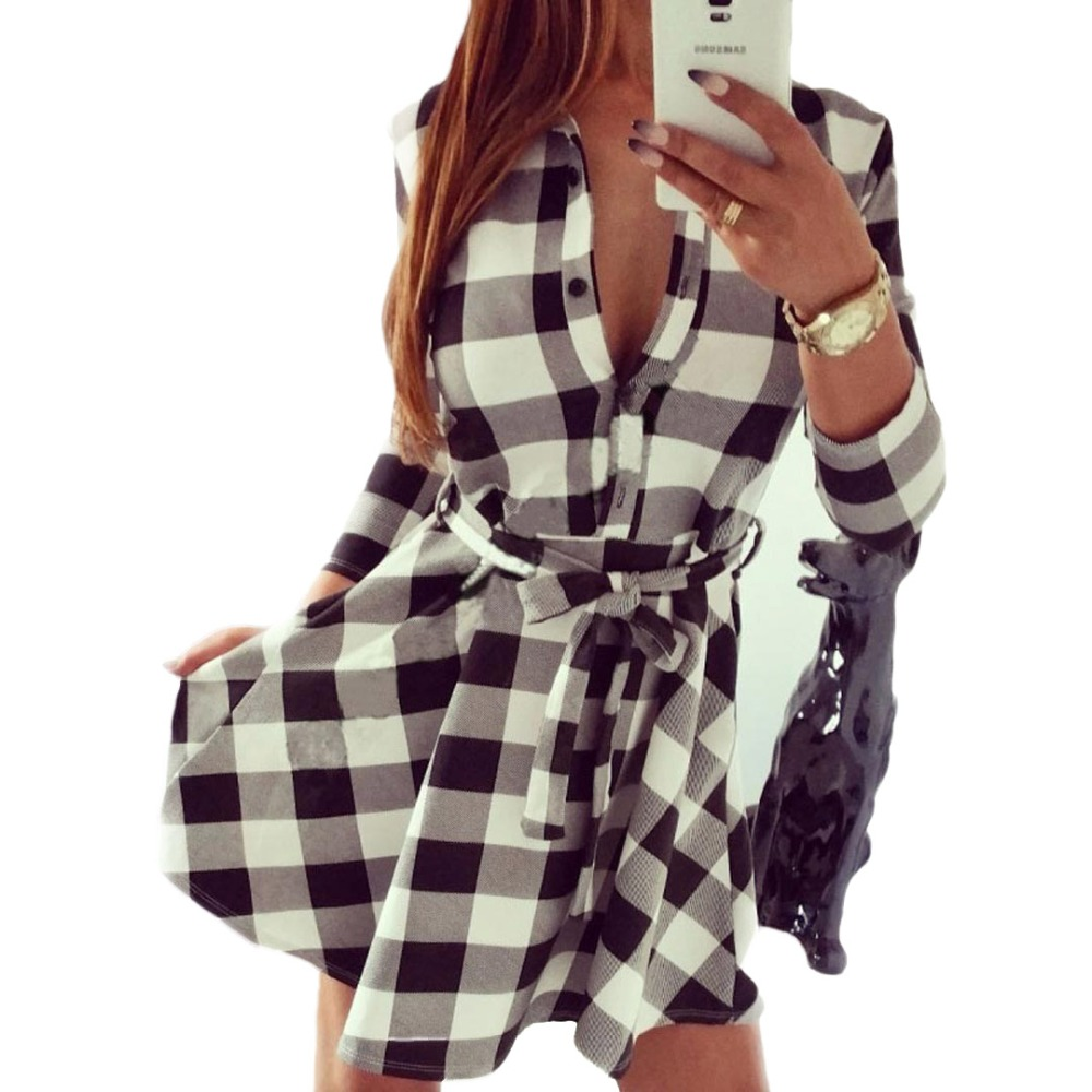 Women Turn Down Collar White And Black Plaid Belted 3 4