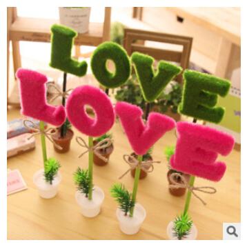 4pcs Cute LOVE Potting Bonsai Design Ballpoint Pens for Kids Children Students Kawaii School Stationery Ball Pens Accessories(China (Mainland))