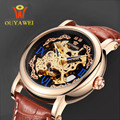 Automatical Mechanical Watches Men Luxury Brand Wrist Watch Male Clock Leather Wristwatch Men Skeleton Casual Business