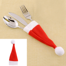 Red Santa Hat Christmas Fork Bags Tableware Silverware Holders Pocket Dinner Home Table Decor*Christmas items(China (Mainland))