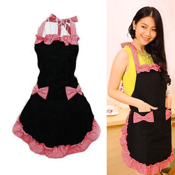 Women Bowknot Restaurant Kitchen Cooking Bib 2 Pockets Chef Apron Dress 3 Colors(China (Mainland))