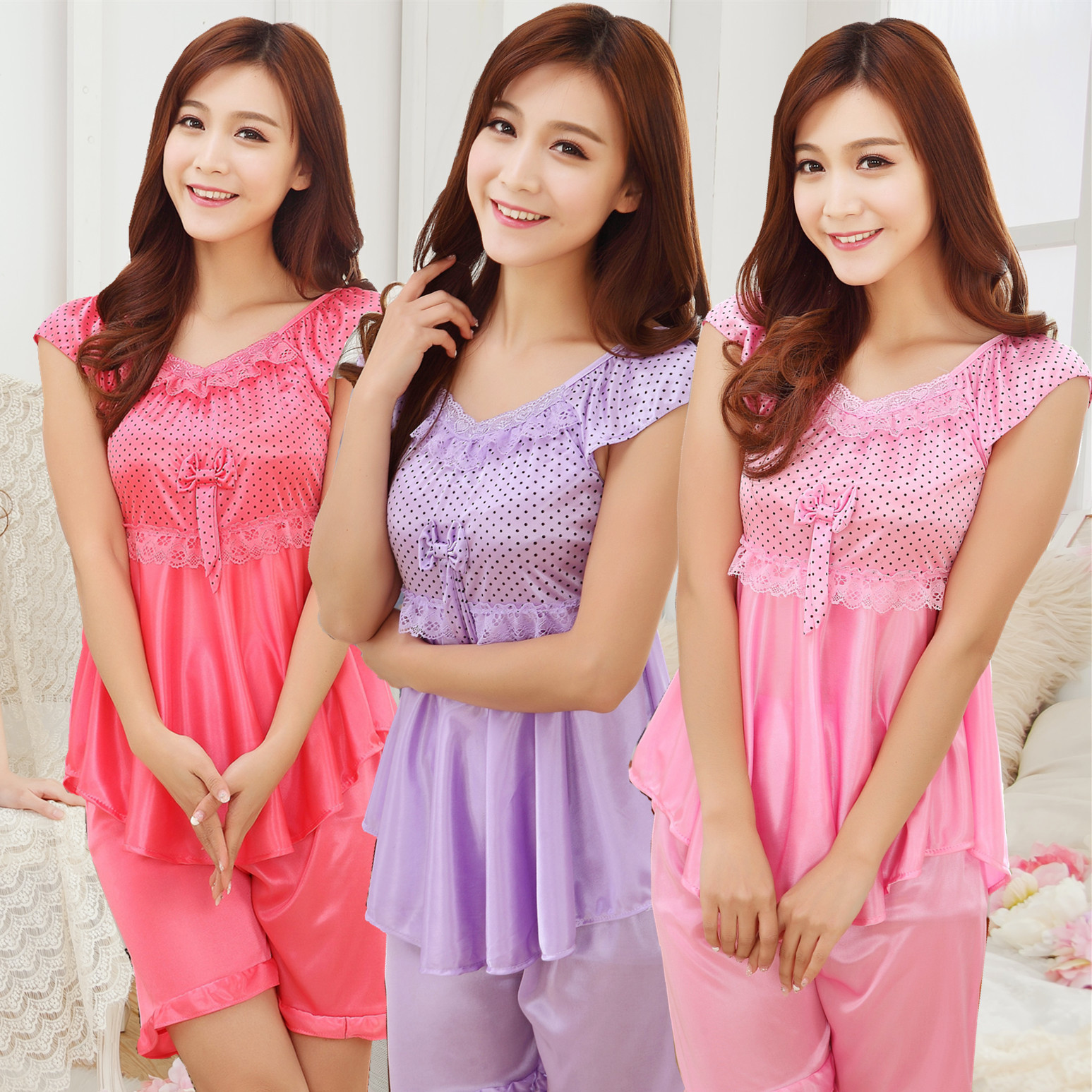New Summer Ladies Pyjama Sexy Silk nightgown Short sleeved Lace Nightwear Rose Pajamas Set Two piece Pijamas mujer Women Set