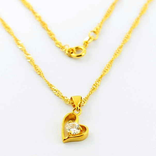 Vacuum Plated 24 K Yellow Gold Necklaces Noble Pure Crystal Romantic Heart Pendant Necklace Lady Fashion Hot Jewelry JJP016(China (Mainland))