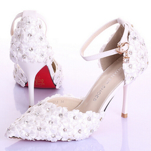 2015 White/Pink/Red Lace Flower Rhinestone Bridal Shoes High Thin Heels Party Shoes Pointed Toe Sandals Crystal Wedding Shoes