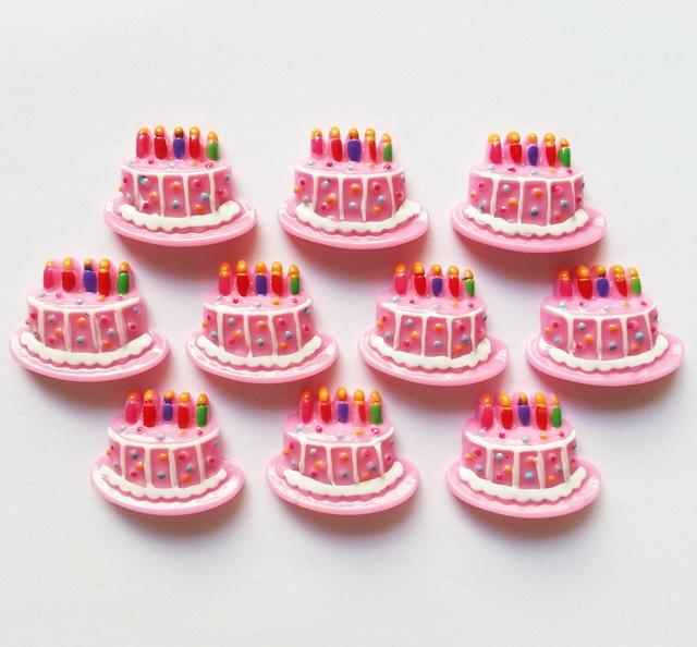 Bulk Lots 50 pcs Birthday Cake Frame Resin Embellishment Flatbacks for Home Decoration Accessories Phone Card DIY Making
