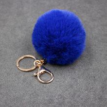 8CM 20 Cores Pompom Fofo Chaveiro Bola de Pêlo de Coelho Bonito Creme Preto Artificial Pele De Coelho Chaveiro Carro Das Mulheres saco do Anel Chave(China)
