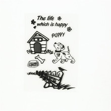 """New arrival scrapbooking DIY photo cards """"lovely animals dog house """"silicon stamps transparent stamp for Christmas gift AB-174(China (Mainland))"""