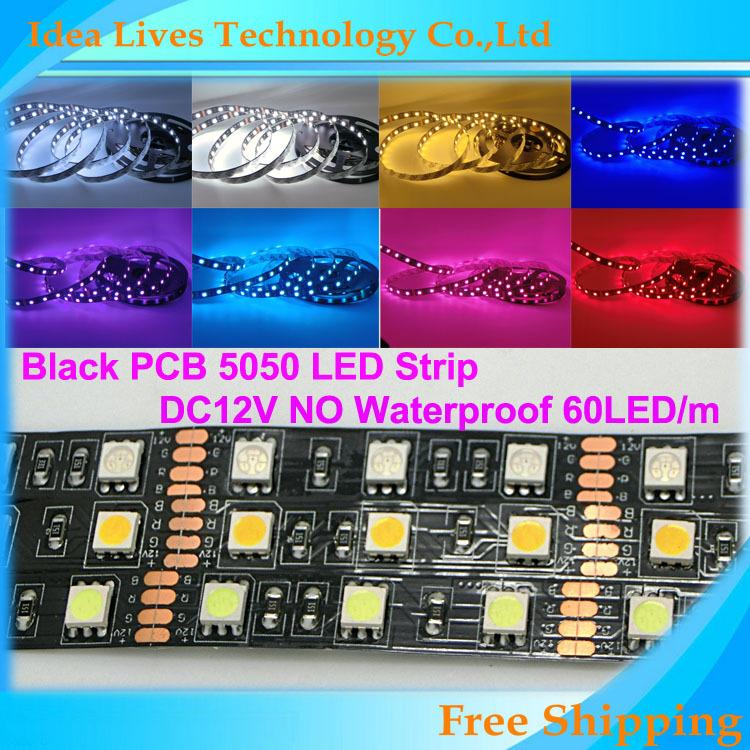 LED Strip 5050 300leds Black PCB board 12V flexible light 60 leds/m 5m/lot, White,Warm White,Cold White,RGB<br><br>Aliexpress