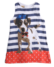 Buy 2016 wholesale dropshipping baby kids girls lovely dog summer dress sleeveless striped one-piece dress 3~7Y for $4.25 in AliExpress store