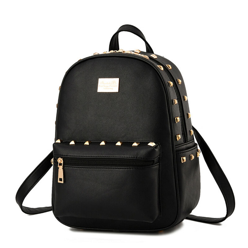 School bags for year 10 - New Design Brand Fashion Black Leather Backpack Women Rivet School Bag