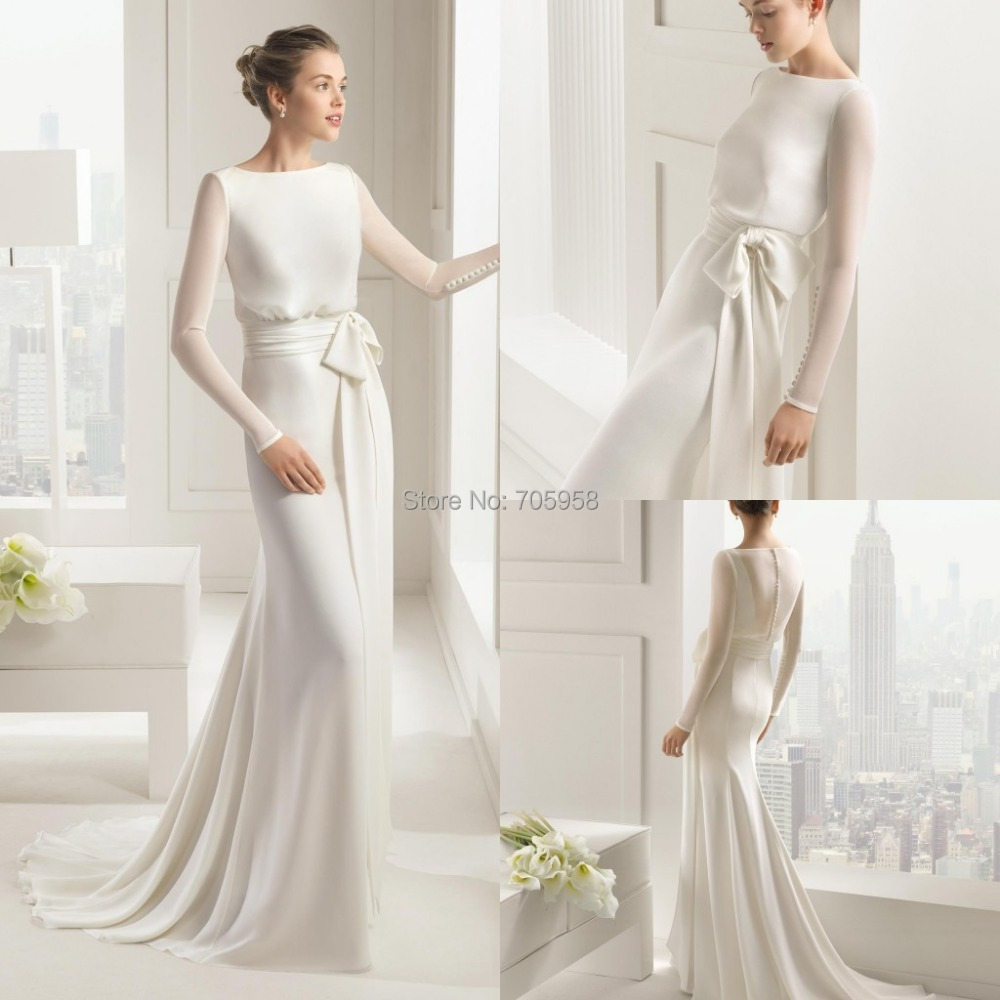 2015 Wedding Dresses Chiffon Boat Neck Spring Bridal Formal Dress With