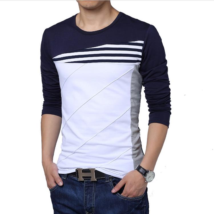 Splice mens t shirt autumn korean plus size youth t shirt for Plus size men shirts