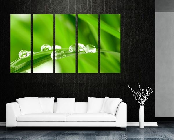 Water drops on grass gallery canvas oil painting discount for Toile decoration murale zen