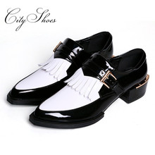 Genuine Leather Black White Women Oxfords,New 2015 England Patent leather Ladies Buckle/Shallow/Tassel pointed toe Oxford shoes(China (Mainland))