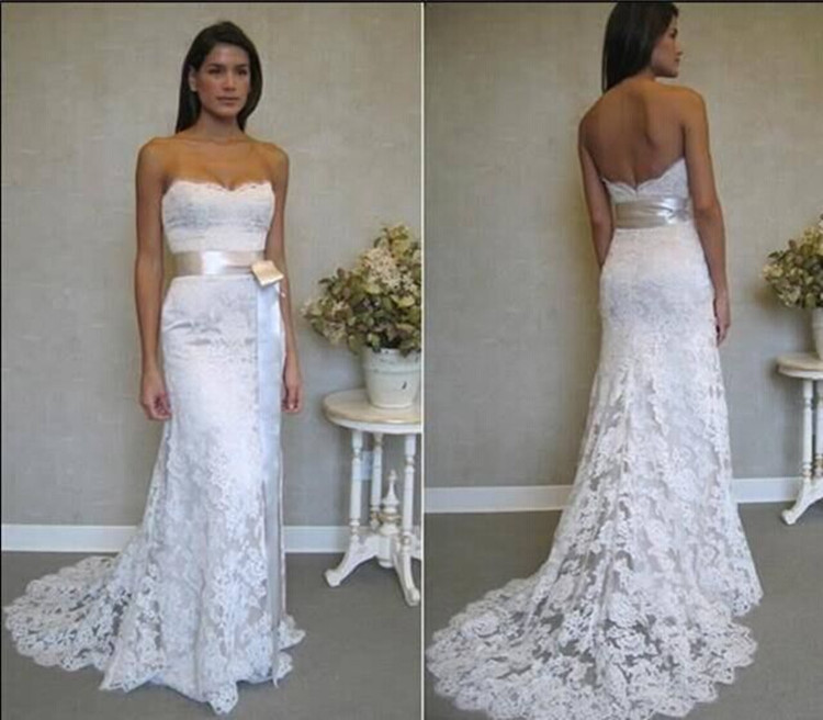 De noiva renda real sample 2014 new free shipping lace bridal gown