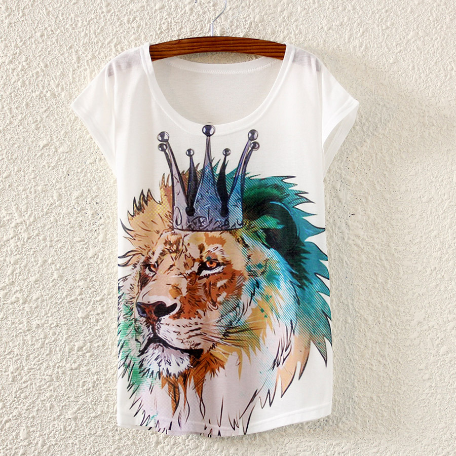 Ink Crown Lion Printed 2016 Summer Style Women s White Loose Casual Shorts Sleeve Tops Tees