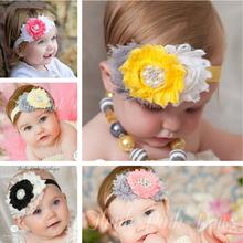 1 pcs New Cute Baby Pearl Flower Headband Elasticity girls Hair Band kids Headwear children hair accessories free Shipping W186