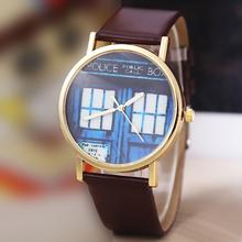 2015 HOT venta de la nueva vendimia de la puerta patrón de cuero artificial para mujer cuarzo analógico reloj de pulsera relojes de pulsera envío gratis