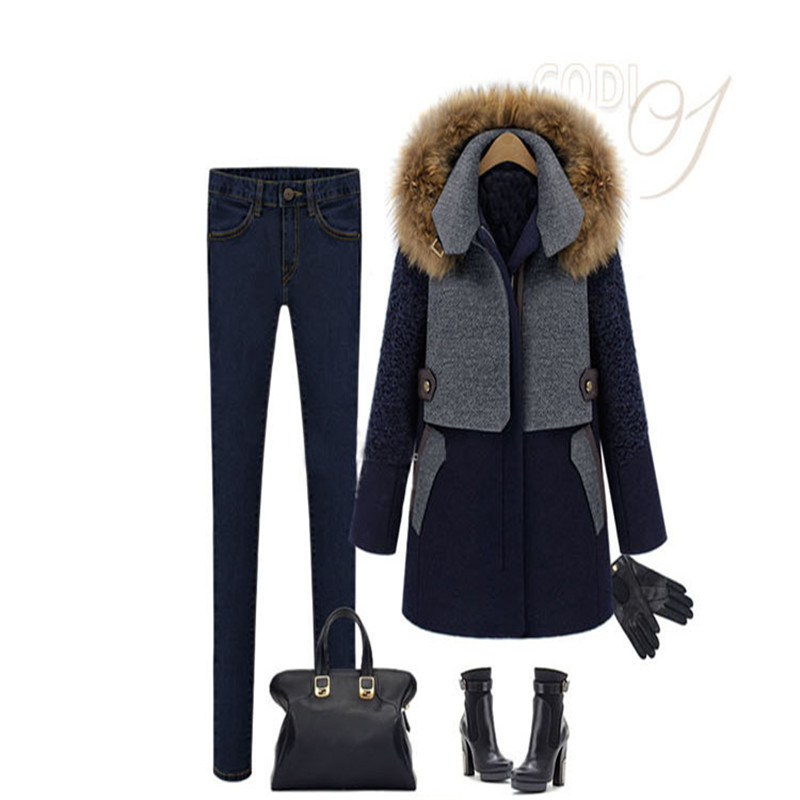 Contrast Color Spliced 2014 New Fashion woman long warm woolen coat hooded fur thickening clothes LQY057