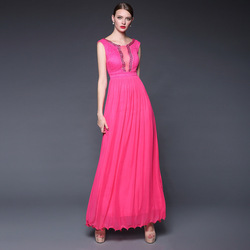 Fashion 2015 Summer Elegant Vent Beading Scoop Neck Long Evening Dress Tulle Dresses Ruffle Edging