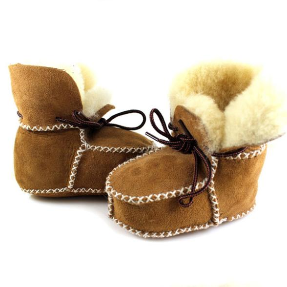 Quality Surfer Baby Sheepskin Shearling Booties Suedel Wool Boots Infant/Toddler Shoes Free Shipping(China (Mainland))