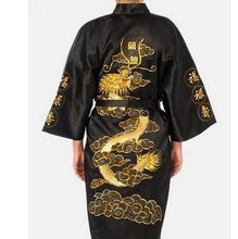 New Black Chinese Men's Satin Silk Bathrobe Embroidery Nightwear Vintage Kimono Gown Free Shipping Size S M L XL XXL XXXL S0009(China (Mainland))