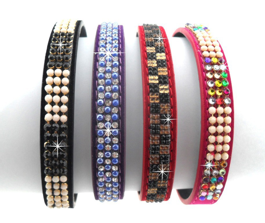 2015 New Arrival 4 color High Quality Fashion Bling Colorful Rhinestone Pearl Dog Collars And Harnesses Pu Leather Pet Products(China (Mainland))