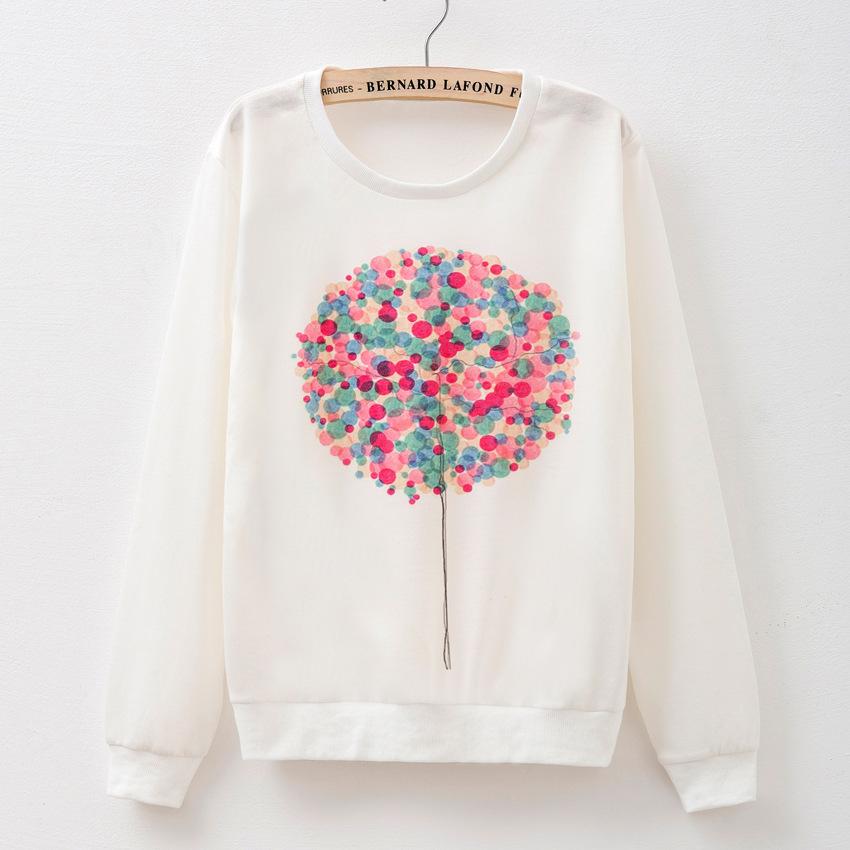 2015 new female Hoodie Sweatshirt print T-shirt sleeve head long sleeved balloon pattern sportswear 20 model