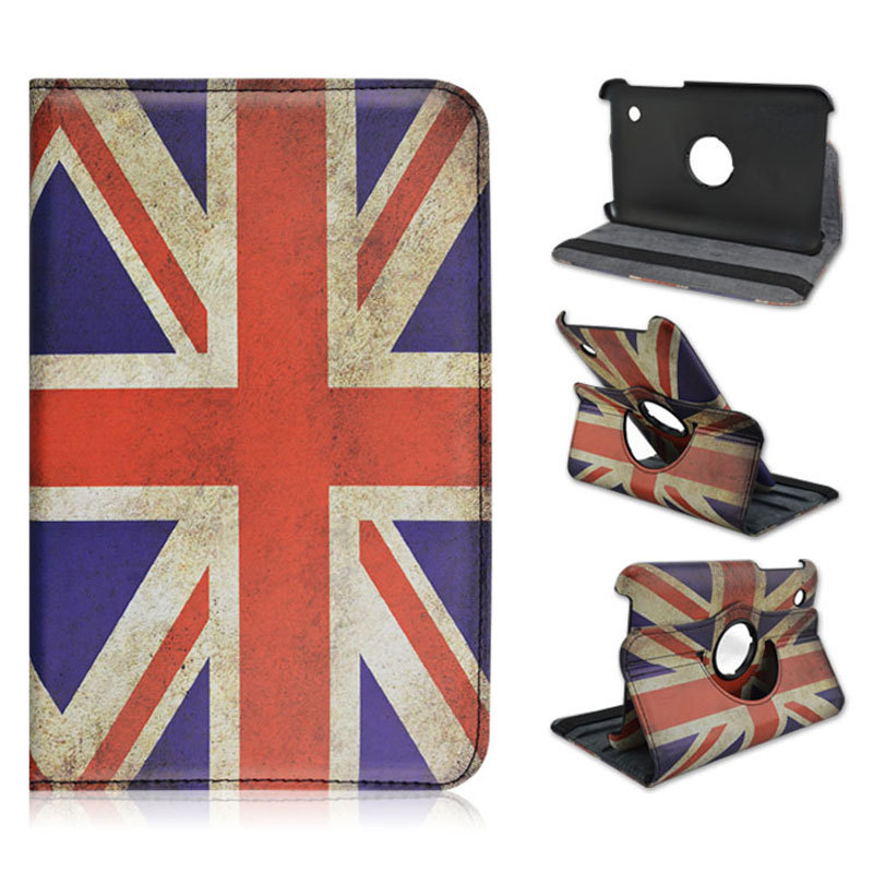Hot!Rotating Retro UK US flag tablet case for Samsung Galaxy Tab 2 P3100 7.0 surface cover funda 7 inch capa tablet accessories(China (Mainland))