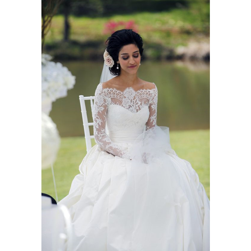 design wedding dresses long sleeve lace illusion bridal gown hot sell