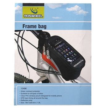 Front tube bag with transparent PVC window for cell phone is a great companion for your riding.