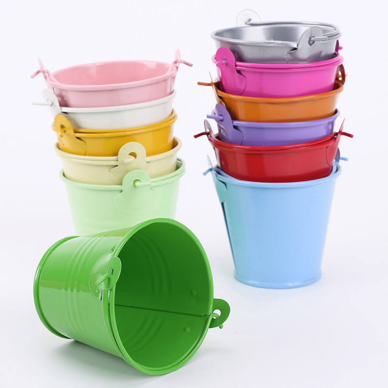 12pcs Colorful Mini Metal Bucket Candy Favours Box Pail Wedding Party Gifts(China (Mainland))