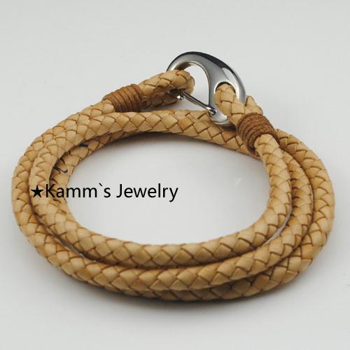 Handmade new Brown Stainless steel Bracelet Traveler Rope Men bracelete best friends pulseiras braceletes bijoux women KB446<br><br>Aliexpress