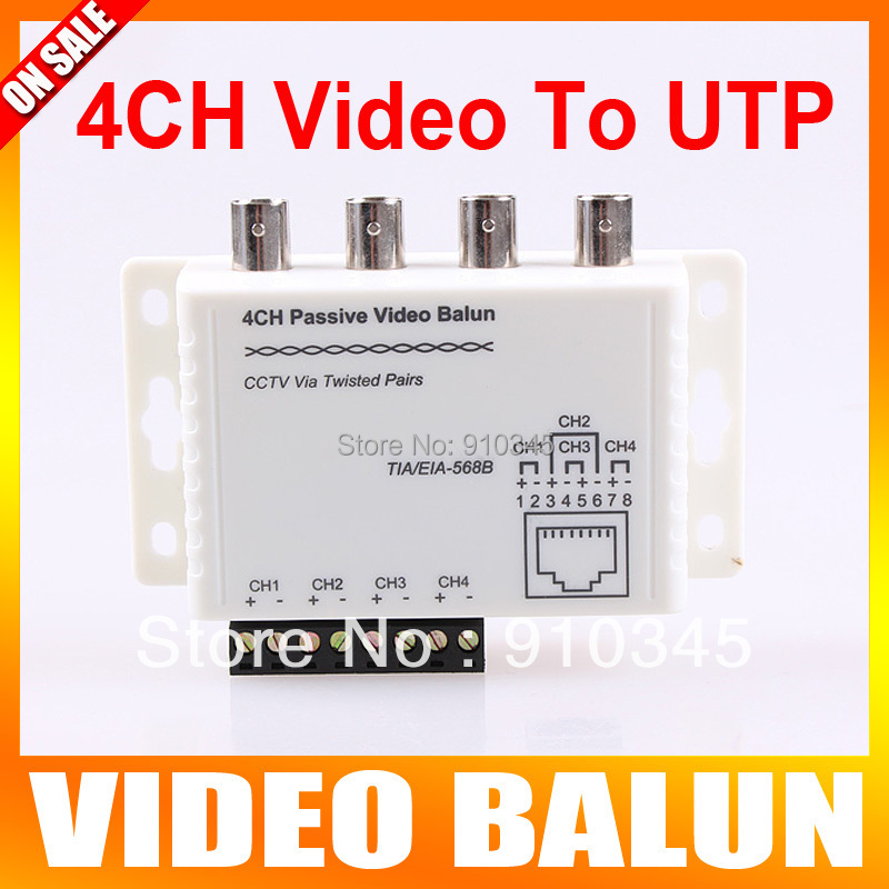 4Ch CCTV BNC Video Balun RJ45 Port Or Terminal Block UTP Cable Transfer CCTV Video Converter Plug and Play(China (Mainland))