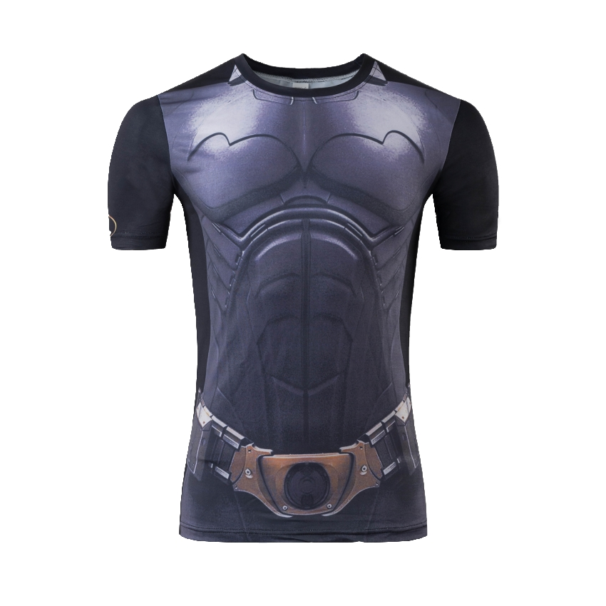 New 2016 Marvel Comic Superhero Compression Shirt Superman Captain America Iron man Fit Tight Gym Bodybuilding T Shirt(China (Mainland))