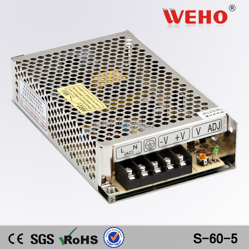 (S-60-5) Cooling Aluminum shell led power supply manufacturer 60W 5V industrial switching power supply(China (Mainland))