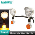 Universal Chrome Motorcycle Steel Light Bar Kit Passing Fog Turn Signals Bullet Stalk White Amber For
